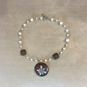 Artisan Made Pearl Necklace with Wooden Charm